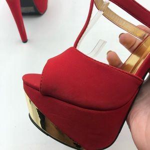Qupid Shoes - Quipid   Bright Red Open-Toe Platform Heels 6